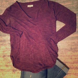 Beautiful Dark Cranberry V-Neck Shirt